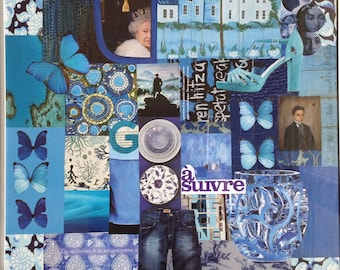 "Collage themed painting: ""Blue"""
