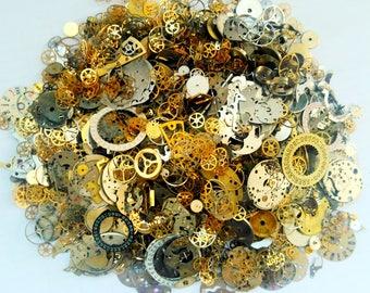200g Steampunk Watch Movement Parts Gears Cogs Wheels Assorted Lot Industrial Art
