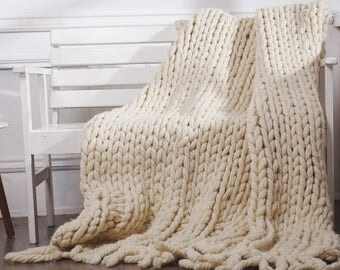 grobstrick chunky gestrickte werfen decke wolldecke wolle. Black Bedroom Furniture Sets. Home Design Ideas