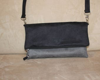reversible black and gray or Brown and beige suede pouch