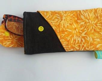 Yellow daisies Glasses Case Sunglass Case Cell Phone Sleeve padded oversize large with angled pocket batik denim
