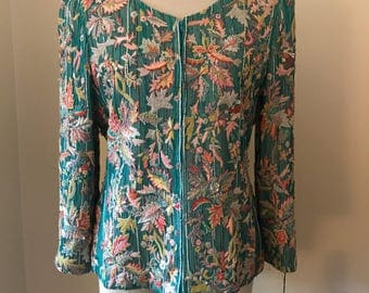 1980's beaded & embroidered silk lined coat- medium