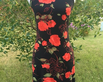 Vintage 90's stretchy black and rose mini dress/sleeveless short sparkly rose dress/snug 90's black and red dress