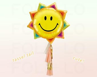 Rainbow SUN Balloon   HUGE Sun Balloon   Sun Party Theme   Sun Balloon Decoration   Balloon Tassel Tail