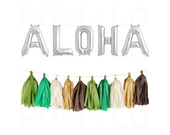 "ALOHA Letter Balloons | 16"" Silver Mylar Letter Balloons 