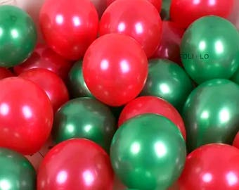 Christmas Balloon Set | Red and Green Balloons | Christmas Tree Balloon | Merry Christmas Balloon | Christmas Decoration | Set of 6