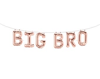 BIG BRO Rose Gold Letter Balloons | Metallic Letter Balloons | Rose Gold Party Decorations