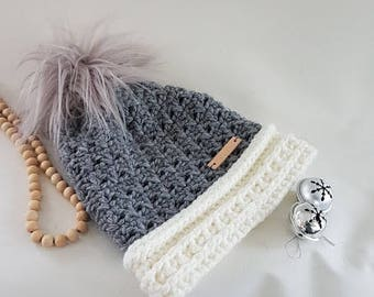Pomhat, crochet hat, grey hat, woman-hat, cozy hat, ladies-hat faux fur pom