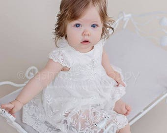 Baby christening gown, lace baptism gown, lace baptism dress, baby lace dress, christening dress
