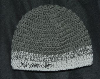 Men's grey crochet beanie, size medium men's fitted hat, men's warm winter hat