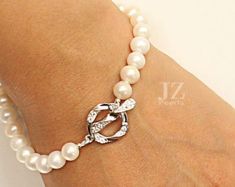 Freshwater Pearl and Crystal Studded Sterling Silver Clasp Bracelet, Necklace with Clasp of your Choice and 7 mm Pearl Stud Earrings