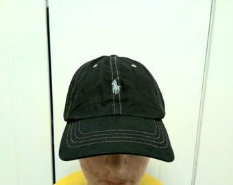 Rarr Vintage POLO RALPH LAUREN Leather Adjustable Cap Hat Free Size Fit All