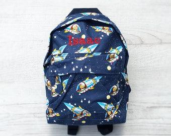 Personalised Kids Space Rocket Ship Mini Backpack - Custom Unisex Children's School Bag - Embroidered Name