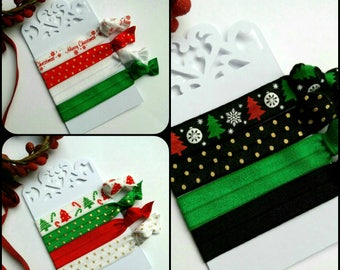 Christmas Hair ties, yoga bands,favours,red,black,green, gold, polka dot, wristbands, snag free, pk of 4,ponytail holders,Uk seller
