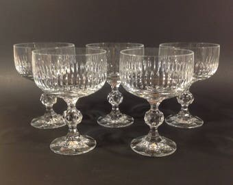 5 Vintage Bohemia Crystal Champagne Sherbet Glasses Coupes Faceted Ball Stem