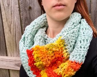 Chunky, Soft Handspun Yarn Infinity Scarf, Crochet Long Circle Scarf, Colorful Fall Accessories, Mint / Red / Orange / Yellow