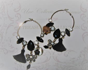 Beaded and rhinestone earrings