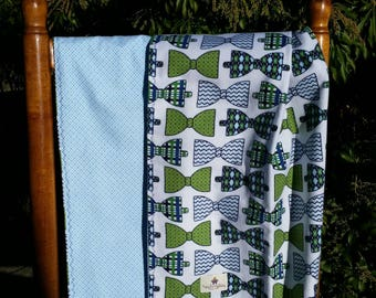 Bow Ties - Baby Shower Gift - Handmade -Baby Blanket - Baby Boy - Swaddling Blanket - Ready To Ship - OOAK