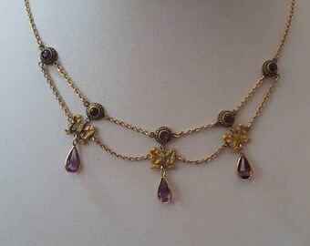 ON SALE Antique Amethyst Festoon Necklace