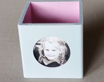 Pink picture frame wood little pot