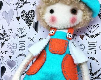 Boy felt Rag doll ragdoll  doll  Ooak cloth doll collectible handmade by Cobesco's Creations