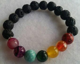 Chakra Lava Rock Oil Diffuser Bracelet, Oil Diffuser Jewelry, Aromatherapy, Perfect Gift
