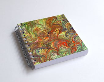 "Notebook 4x4"" decorated with motifs of marbled papers - 19"