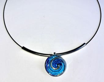 Blue Glass Circle necklace