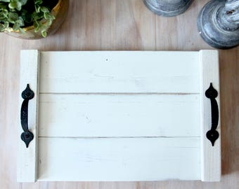 White wood serving tray