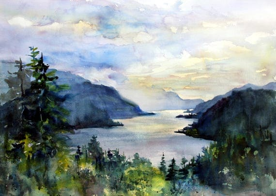 Columbia Gorge 308 - signed print by watercolor artist Bonnie White