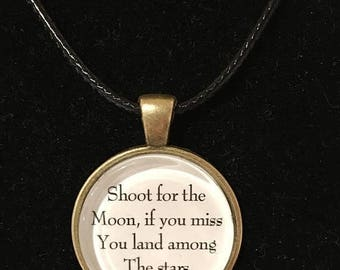 BIG SUMMER SALE Shoot for the moon, if you miss, you land among the stars, antique gold, Inspirational quote necklace