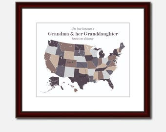Grandmother Wall Art Unique Long Distance Gift 2 Map Art Two Map Print Personalized State Country Distance Present Birthday