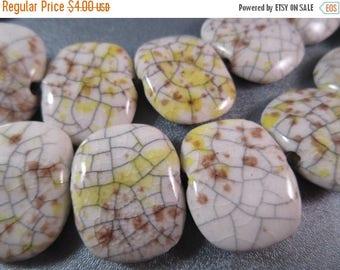 ON SALE 15% OFF Ceramic Oval Beads 12pcs