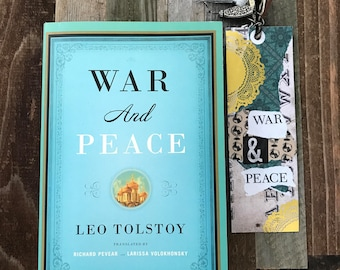 Handcrafted bookmark and book: War and Peace by Leo Tolstoy