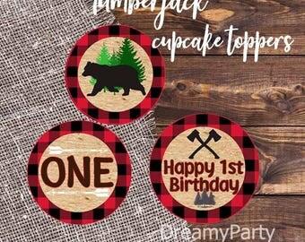 Lumberjack Cupcake Toppers, Lumberjack first birthday, Lumberjack decorations, Woodland Birthday, Boys Birthday, Digital File.