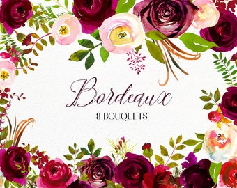 Bordo Flowers Watercolor Clipart Burgundy White Red Florals Bordeaux Dark Red Peach Watercolour Wedding Clipart Sprays Bouquets Sprays PNG