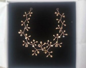 Gold hair vine, pearl hair vine, gold and pearl headpiece, bridal hair vine, bridal headpiece, pearl hair wreath, pearl fascinator