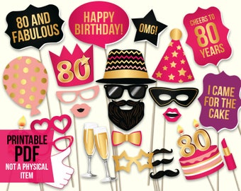 80th birthday photo booth props: printable PDF. Hot pink and gold. Eightieth Bday props. Birthday party ideas for women. Digital download