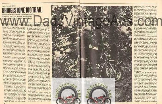 1968 Bridgestone 100 Trail Motorcycle Road Test 3-Page Photo Article #nbo03