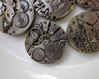 5 Vintage Partially-Assembled Watches, Rhodium Plate with Moveable Parts, Mixed Lot, 23-24mm