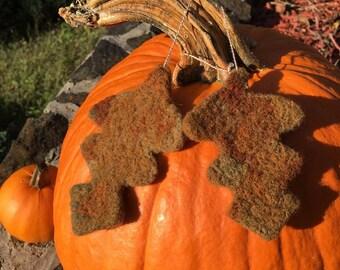 Needle Felted Oak Leaf Ornaments, Needle Felted Oak Leaf Decorations, Needle Felted Oak Leaves