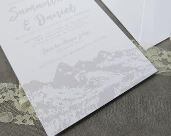 Mountain Wedding Invitation Suite - Teton Mountains - Grey and White Wedding Invitations