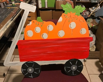 Pumpkin and Wagon Door Hanger / Fall Pumpkin and Wagon