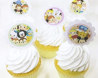 "Tsum Tsum Cute | CupCake Toppers, cupcake picks, food picks, 4"" Lollipop Stick Set of 12"