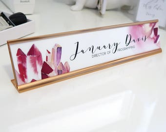 "Custom Crystal Name Plate ""January"" - Personalized Desk Name Plate Sign Decor - Rose Gold Office - Wall Mounted Option"