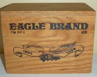 Vintage 1857-1985 Collectible Wooden Eagle Brand Condensed Milk Recipe Box & Recipies