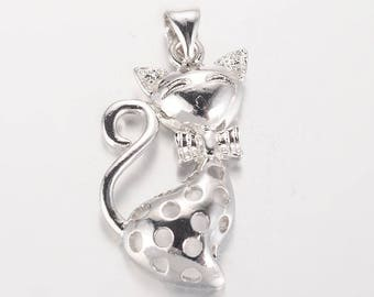 Adorable cat pendant silver-plated 26X14X4mm