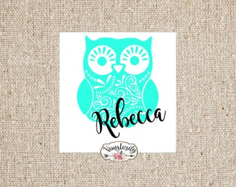 Aztec Owl Decal | Owl Decal | Personalized Owl Decal | Personalized Decal | Monogram | Yeti Decal | Car Decal | Laptop Decal | Vinyl Decal