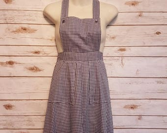 Vintage, 1960's, Gingham apron/pinafore maxi dress/ size 4