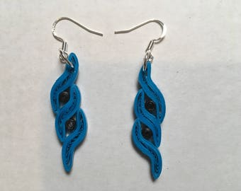 Handmade Quilled Paper Earrings Blue and Black